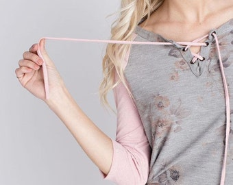Faded Floral Print Top