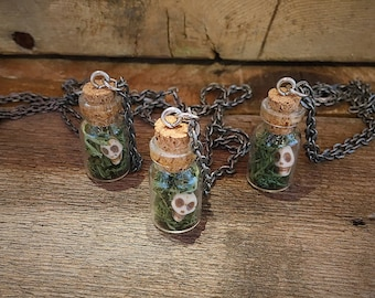 Skull and Moss Terrarium Charm Necklace