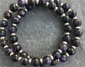 Dark Charoite Posh Power Bracelet With Sterling Silver. Stacking Black and Purple Beads. Free Charoite Tumble With Purchase! 22crystals