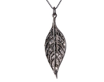 Sterling Silver Leaf Pendant Necklace Nature Jewellery Handmade Free delivery Gift Box and Gift Bag included