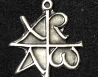 Chi Rho Alpha Omega Pendant in Pewter - lower case Greek