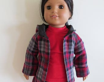 """Made To Fit Like American Girl Doll Clothes; 18"""" Doll Jacket; Doll Coat; Doll Red and Black Jacket; Doll Winter Coat; 18"""" Doll Hooded Jacket"""