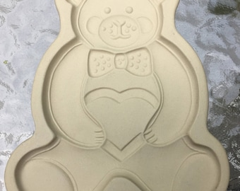 ON SALE Cookie Mold Pampered Chef 1991 Stoneware Teddy Bear Paper Making Supplies