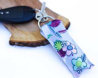 Chapstick Holder, Grey Floral Lip Balm Holder Key Chain, Cute Chapstick Keychain, Gift for Her, Stocking Stuffer for Teen, Christmas Gift