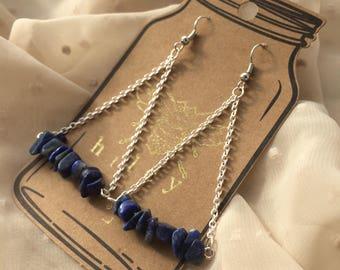 Lapis Lazuli and Chain Dangle Earrings