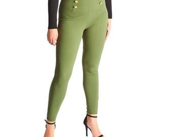 Rhia Buttoned Skinny Trousers - Khaki