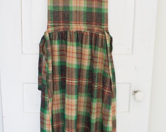Vintage Plaid Wool Apron Hippy Dress Tank Floral Fall Farm Dress with Ties Medium M Large M/L