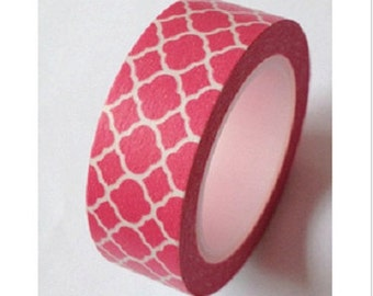 Washi Tape Coral Quatrefoil Decorative Washi Tape 11 yards 10 meters Dark Pink Dark Coral Quatrefoil