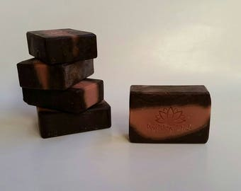 CHOCOLATE MINT SOAP, Peppermint, Chocolate, and Ground Coffee, Exfoliating Hand & Body Soap