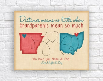 Custom Grandparents Gift, Choose Any Locations, Colors, Quote, Names - Popular Christmas Gift Idea, Nana and Pop | WF527