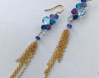 Woven Earrings Topaz Amethyst