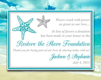 "Wedding Favor Donation Card Template - Beach Wedding Charity Favor Donation Card ""Blissful Starfish"" Ocean Silver Wedding Favor"