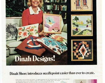 1972 Advertisement Dinah Shore Designs Corner Crafts Needlepoint Celebrity 70's Home Interior Projects Sewing Room Wall Art Decor