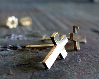 Itty Bitty Tiny Cross post earrings. Gold filled, sterling silver or solid 14k gold. Smooth or textured studs.  Religious Christian gift.