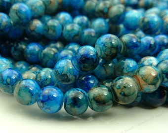 Blue Mottled Round Glass Beads - 6mm Smooth, Shiny, Colorful Bohemian Beads - 32pcs - BN7