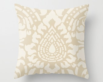 Damask Throw Pillow  - Home Decor - includes insert - Tan Beige