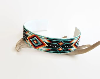 Turquoise Beaded Headband | Native American Beadwork Style | Loom Beadwork Headband | Native Beadwork Hair Accessory | Gift For Her
