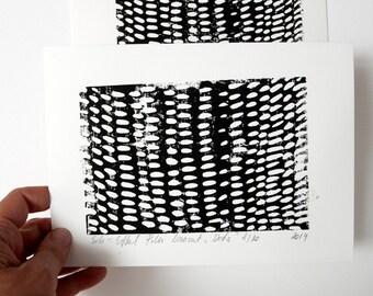 Black white linocut, Dots linocut, Original linocut, Monochrome lino, Rain abstract art, Composition art, Contemporary fine art, Gift women