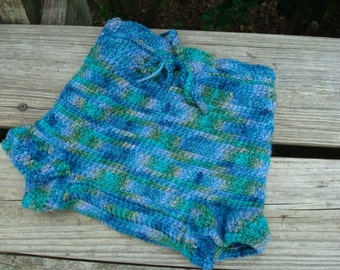 Toddler or Baby Boy's Hand Panted Thick Wool Shortie Soaker Diaper Cover - Aquarium 950