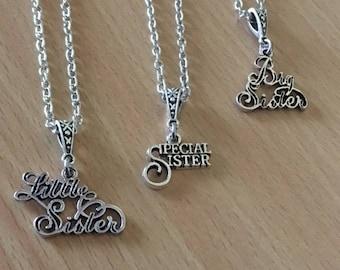 Sister Necklace  Little Sister Big Sister Necklace Silver Necklace Silver Necklace