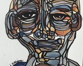 Original Art Painting Fine Modern art abstract portrait
