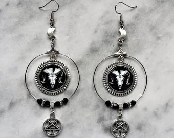 earrings hoops skull goat cameo inverted pentagram half moon silver baphomet satanic gothic dark occult esoteric pagan witch witchcraft