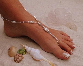 Barefoot Sandal - Simply Elegant  Crystals Swarvoski Silver Crystal, Destination Wedding, Beach Wedding, Beach Bridal Sandals, Mermaid Party