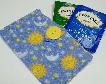 blue cotton moon tea wallet,eco friendly,tea/condom teawallet,tea wallet,tea bag holder,tea bag caddy,travel teabag,gift,eco-friendly
