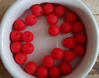 Set of 25 beads 10mm silicone (S28)