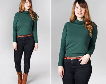 Vintage Emerald 1970's Turtleneck Pullover - Retro 70's Knit Long Sleeve Sweater Green Soft Cozy Casual Winter Top Shirt - Size Medium