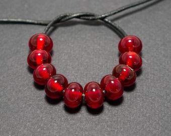 Spacer beads set, Garnet red lampwork spacer beads, Lampwork beads, Garnet red glass spacer, Lampwork spacer