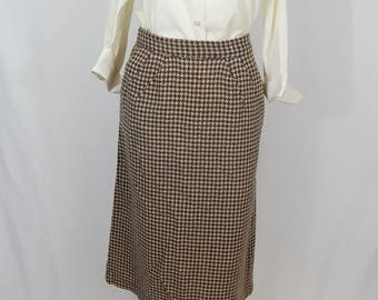 Vintage Houndstooth Skirt Small S Brown Rust Copper Beige Tan Pockets Pleated 60s Sixties Front Pockets