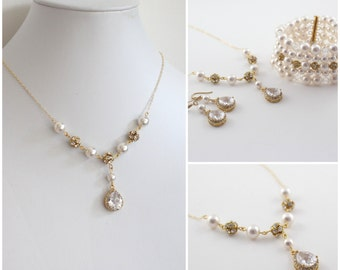 Bridal Earrings and Necklace Set with Bracelet, Pearl Bridal Earrings and Bracelet Set, Statement Wedding Earrings, Gold Wedding Jewelry