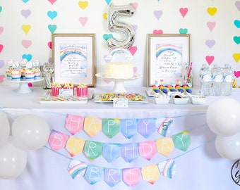 Rainbow Party Package, Printable Rainbow Party Pack, Personalized Rainbow Birthday Party Decorations, Editable PDF INSTANT DOWNLOAD
