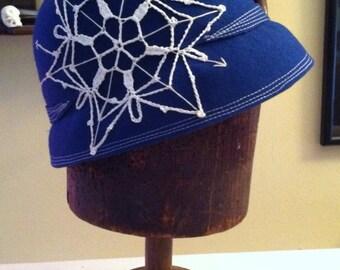 Cobalt and crochet cloche