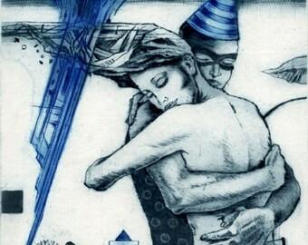 Passion, dry point, intaglio print, original art, handprinted, couple embracing