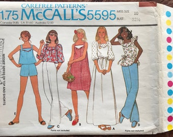 """McCall's 1970's Sewing Pattern # 5595 -  Front Yoke Dresses in 2 Lengths - Puff Sleeve, Flutter Sleeve Tops, Shorts - Size 10, Bust 32 1/2"""""""