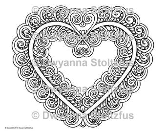 Swirly Heart Coloring Page JPG