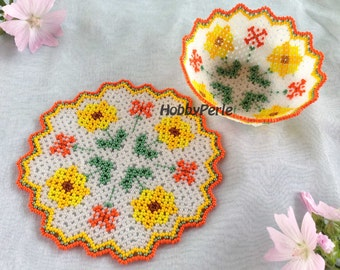 Pattern Doily and Bowl Sunflowers
