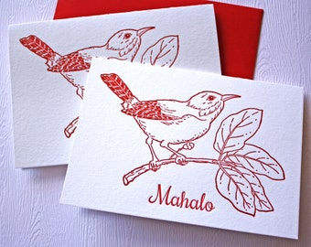 Letterpress Stationery Hawaii Honey Creeper Bird Ruby Red Folded Cards