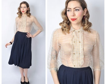 Vintage 1950's Semi Sheer and Gold Lurex Blouse/ 50's Sheer Button Front Shirt Top Size Small