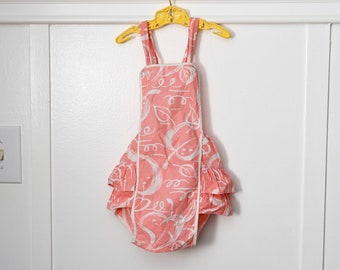 3T: Peachy Pink Ruffled Romper, Abstract Leaf Print, Textured Cotton Fabric
