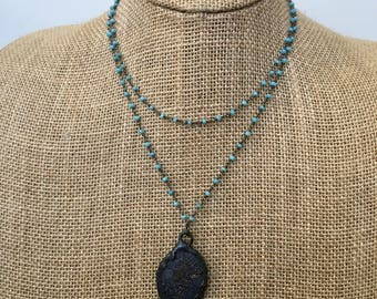 Aqua Chalcedony Rosary Chain Layered Necklace with Hammered Metal Pendant