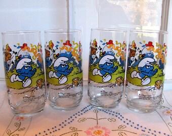 8 Harmony Smurf Glasses / Set of 8 Smurf Tumblers 12 oz.