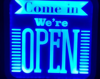 Come in We re Open Acrylic LED RGB  Sign Wall Sign Neon Like Sign Color Changing Remote Control 2 sizes Made In USA Free Shipping