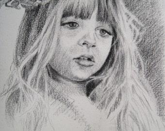 Custom graphite pencil portrait, single subject