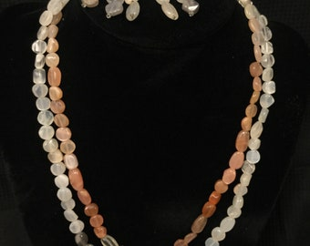 Sunstone and Moonstone Necklace and Earring Set