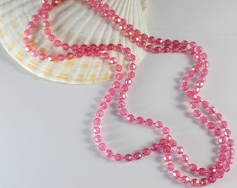 1970s Long Pink Faceted AB Beaded Plastic Bead Necklace
