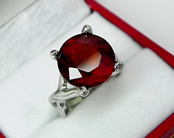 AAAA Hessonite Garnet   12x12mm  7.30 Carats   14K White gold gold - ELKE- ring 0729