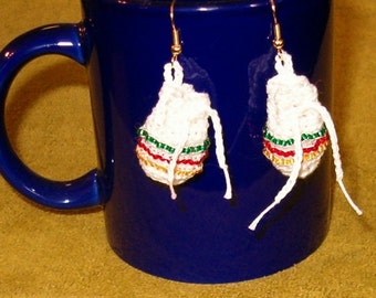 Earrings Totem Pouch Medicine Bag - Pretty Cute Beaded Bohemian Fashion White Crochet w Green, Red, Gold Seed Beads - Pierced OR Clip On